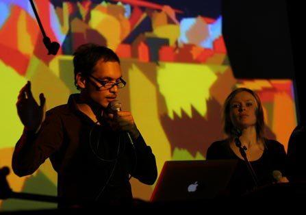 Peerspex performing at PixelACHE 2005 with RESPAM vjs